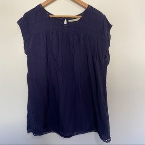 Sejour Short Sleeve Navy Eyelet Blouse